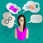Business woman thinking infographics - stock illustration