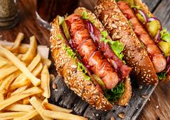 Barbecue grilled hot dog Stock Photos