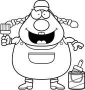 Stock Illustration of Cartoon Painter Paintbrush