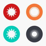 Vector modern sun colorful icons set Stock Illustration