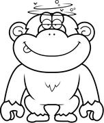 Cartoon Stupid Chimpanzee Stock Illustration