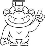 Cartoon Chimpanzee Professor - stock illustration