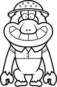 Cartoon Macaque Safari - stock illustration