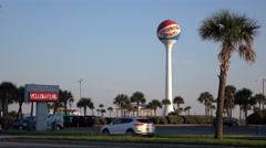 Pensacola Beach welcoming station with water tower in background 4k Stock Footage