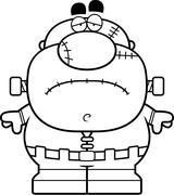 Tired Cartoon Frankenstein - stock illustration