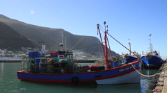 Fishing Boats in Sunshine at Kalk Bay Harbour, Cape Town Stock Footage