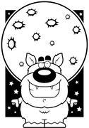 Cartoon Werewolf Moon Piirros