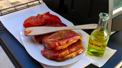 Raw beef steak for grill Stock Footage