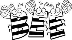Cartoon Bee Word Stock Illustration