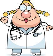 Waving Cartoon Doctor Stock Illustration
