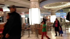 People enjoying meal in modern mall food court cafeteria. Stock Footage