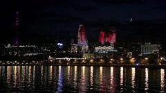 Baku at night, in Azerbaijan - stock footage
