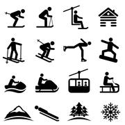 Ski, snow and winter icons - stock illustration