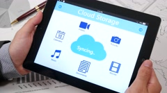 4K Businessman Syncing Cloud Storage Info on Tablet - stock footage