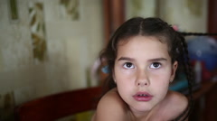 Mother makes daughter female girl hair braid  sitting naked in the morning Stock Footage