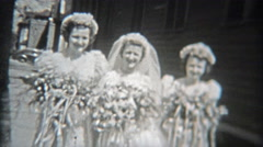 1942: Bridesmaids walking together excited about the upcoming wedding. Stock Footage
