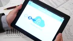 4K Businessman Mobile Cloud Access Denied - stock footage