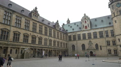 Interior courtyard of Kronborg Castle - Helsingor Denmark Stock Footage