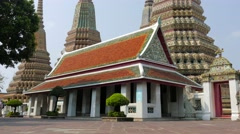 Wat Pho (Temple Of Reclining Buddha) in Bangkok. Tilting shot. - stock footage