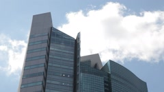 Office building and blue sky with clouds in Ginza district, Tokyo, Japan Stock Footage