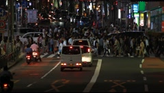 Cinematic shot of vehicle and pedestrian traffic in Shibuya district at night, Stock Footage