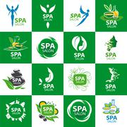 Stock Illustration of large set of vector logos for spa salon