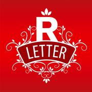 Logo letter R with a vegetative ornament on a red background - stock illustration