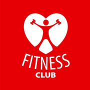 Vector logo in the shape of a heart for a fitness club Stock Illustration