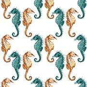 Watercolor seahorse pattern - stock illustration