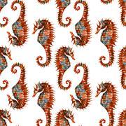 Watercolor seahorse pattern - stock illustration