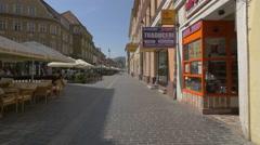 Taverna Sarbului restaurant on Republicii street, Brasov Stock Footage