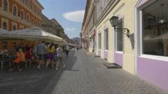 McDonald's restaurant on Republicii street, Brasov Stock Footage