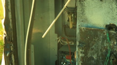 Burned out gas pump destroyed electronics Stock Footage