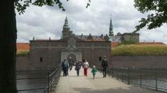 Bridge to Kronborg Castle - Helsingor Denmark Stock Footage