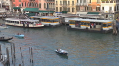 Aerial view boat station Venice public transportation grand Canal tourism iconic Stock Footage
