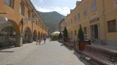 Apollonia Hirscher street - a beautiful pedestrian walkway, Brasov Stock Footage