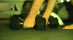 Gym weights exercising gear barbel barbell Stock Footage