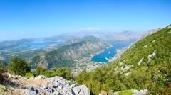 Panoramic view on top of Kotor and Tivat Bay, Montenegro - stock photo