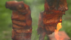 Pieces of fish on an open fire front view close up Stock Footage