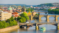 Prague and Vltava river in evening Stock Footage