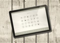 Digital tablet PC on a white wood table - stock illustration