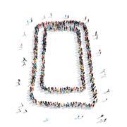 Group  people  shape  smartphone Stock Illustration