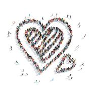 Group  people  shape  heart sweet Stock Illustration