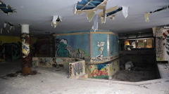 Abandoned indoor pool, graffiti on the walls - stock footage