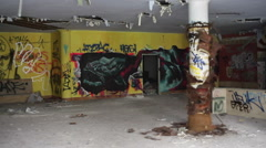 Stock Video Footage of Graffiti on walls in a rundown abandoned building