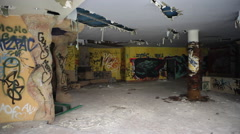 Fish graffiti on the walls of an abandoned building - stock footage