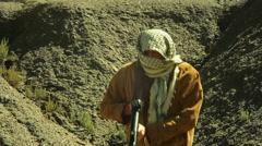 Terrorist with rpg missle Stock Footage