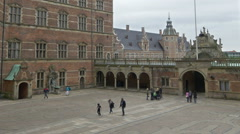 Interior Courtyard of Frederiksborg Castle - Hillerod Denmark Stock Footage