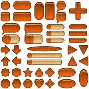 Brick glass buttons set - stock illustration