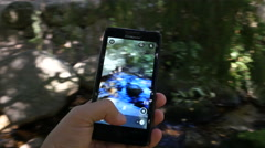 Making photo via cell phone of a stones and mountain river nature in Bulgaria Stock Footage